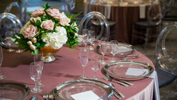 A table set up for a banquet