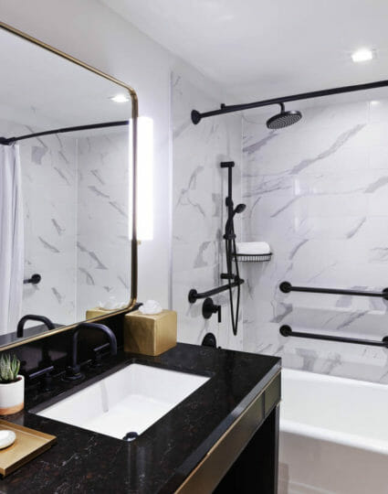 Handicapped accessible bathroom with large accessible tub and vanity