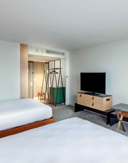 Two queen bed room with flatscreen tv