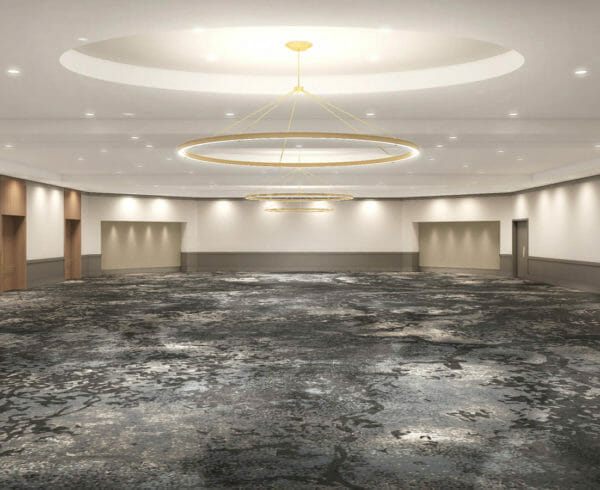 Large spacious conference room that is empty with recessed circular light fixtures in the ceiling, grey carpet, white walls, and wooden trim
